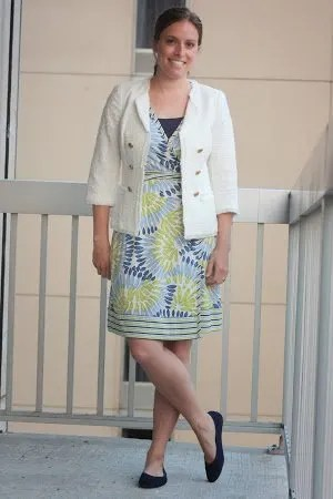 white blazer, blue and green floral wrap dress, navy belt