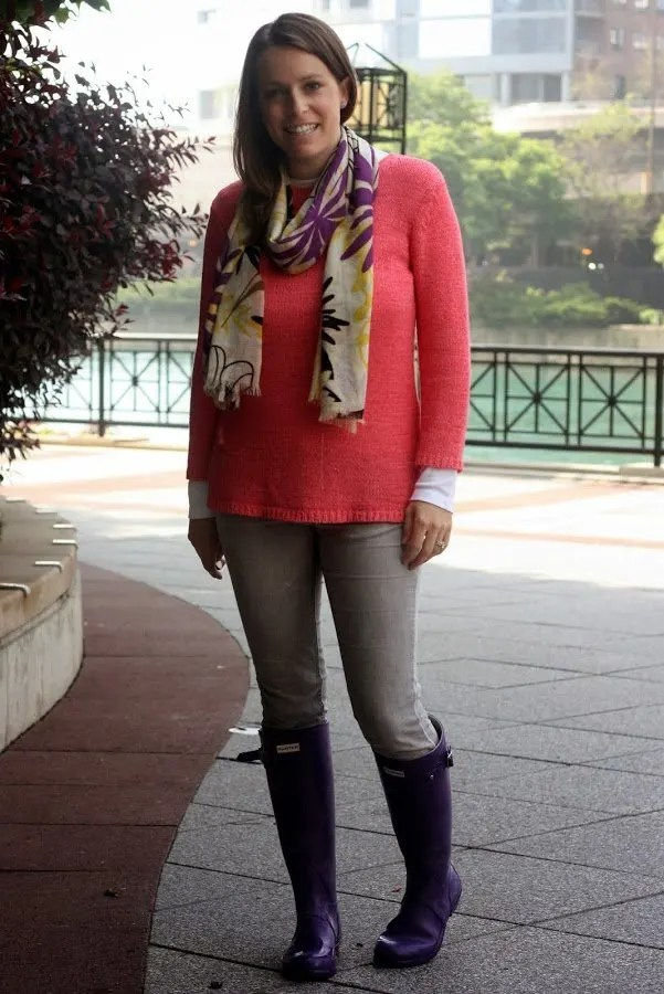 pink thrifted sweater, gray Target jeans, purple Hunter boots, and purple and yellow scarf - wear casual, weekend - www.honestlymodern.com