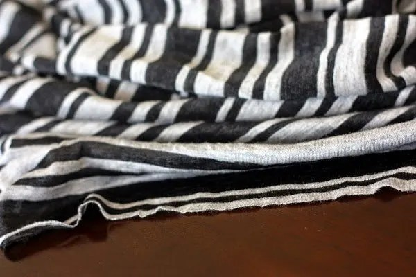 gray and black striped knit fabric - www.honestlymodern.com
