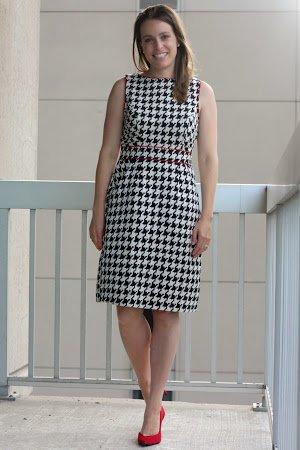 black and white houndstooth dress. red heels - wear to work, office - custom dress via @eshakti - www.honestlymodern.com