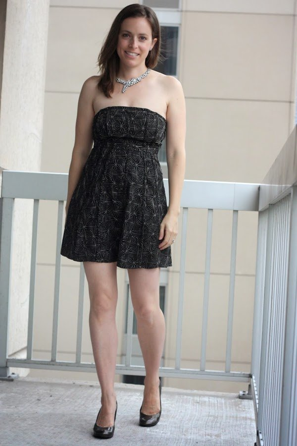 urban outfitters strapless dress, statement necklace and heels - www.honestlymodern.com