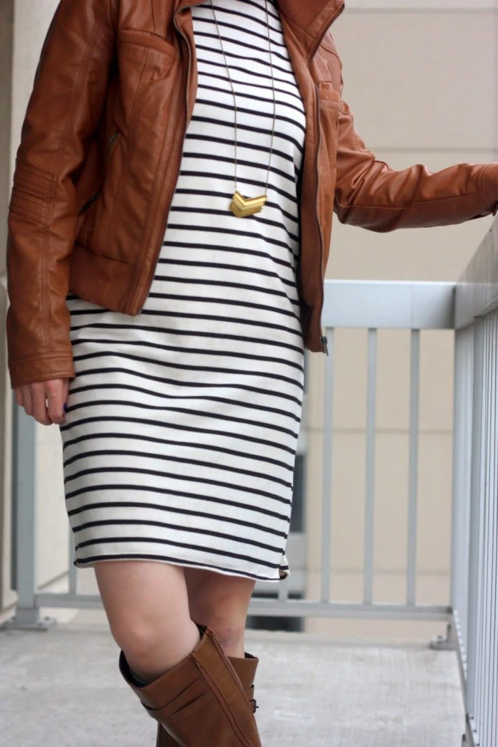 Black and white striped sheath dress, cognac leather jacket and boots for fall | business casual transitions to weekend | www.honestlymodern.com