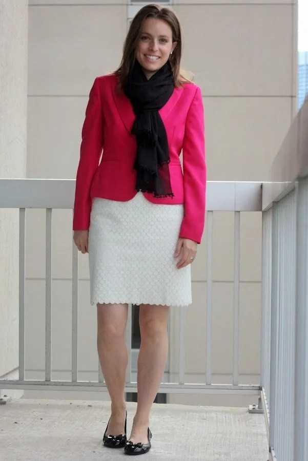 thrifted pink JCrew blazer, thrifted white LOFT skirt, black scarf and blouse | wear to work, office, business casual or business formal | www.honestlymodern.com