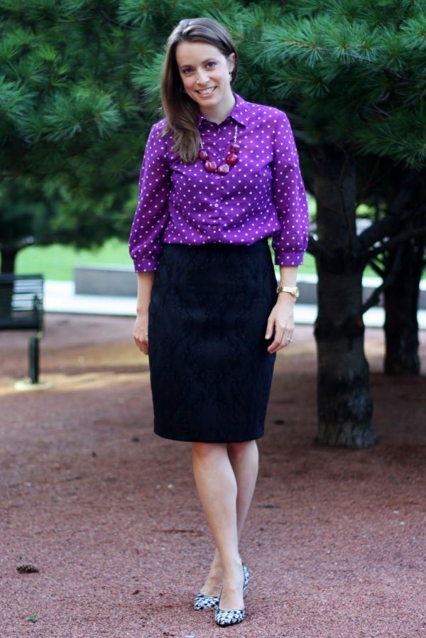 purple polka dot blouse, black pencil skirt, houndstooth heels, and necklace | wear to work, office | www.honestlymodern.com