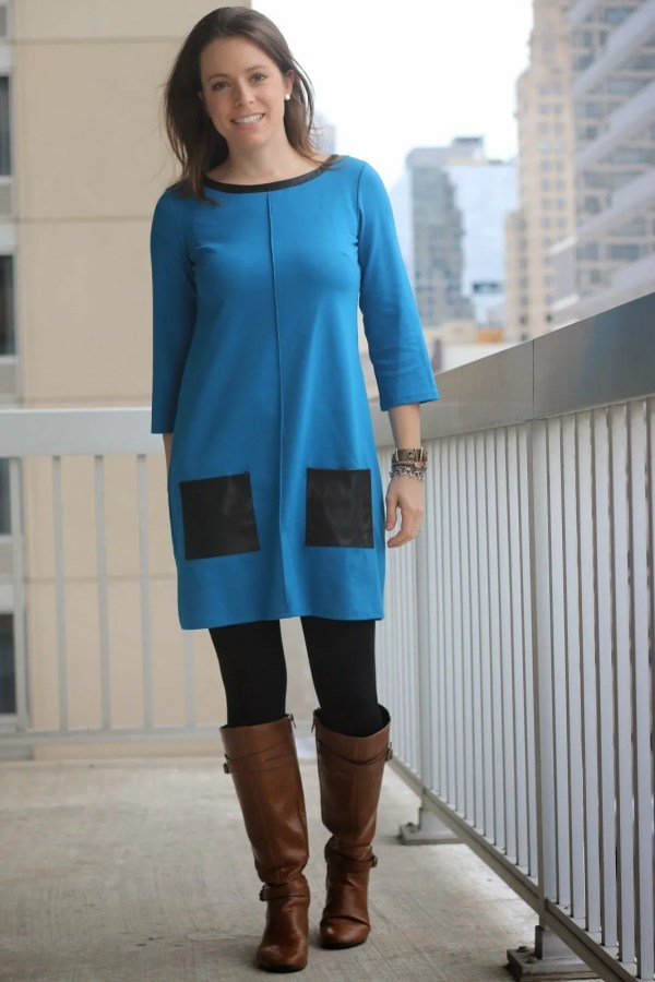 FashionablyEmployed.com | Blue mod dress with leather details, tights, and cognac boots | wear to work, office | style blogger, winter style