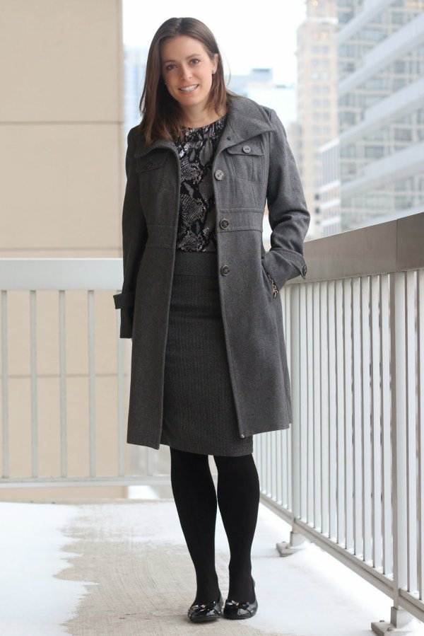 FashionablyEmployed.com | Monochromatic gray and black style, outfit | gray wool winter coat, reptile print blouse, gray skirt, black tights and black flats | wear to work, office | style blogger, winter style