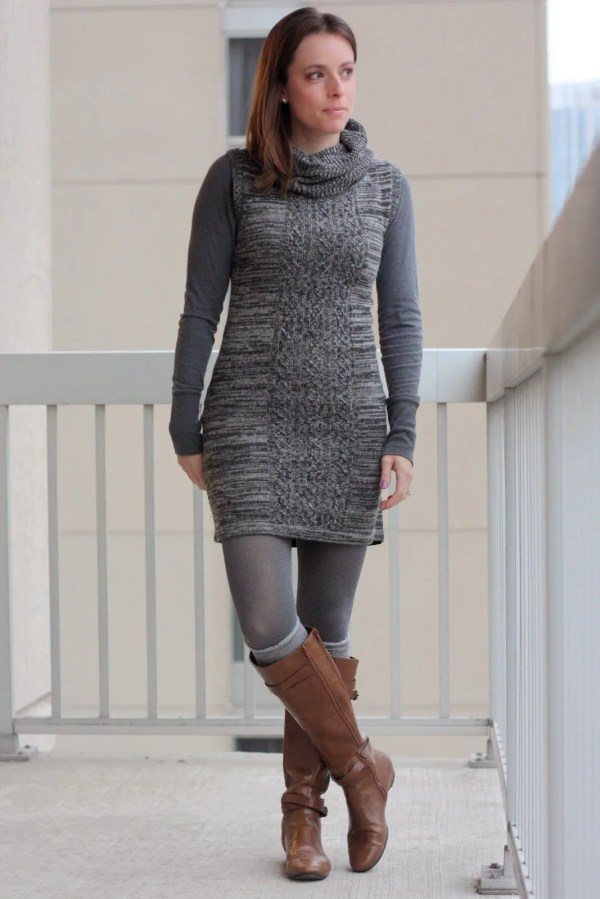 FashionablyEmployed.com | Gray sweater dress, gray tights, gray boots socks, and cognac boots | work or casual style for fall and winter