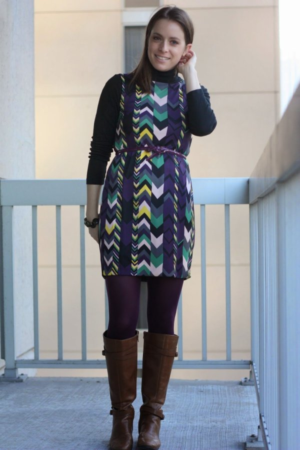 FashionablyEmployed.com | Missoni chevron dress with purple tights, black wool coat, purple belt and cognac boots for fall or winter, wear to work style