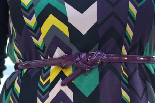 FashionablyEmployed.com | Purple belt knotted over Missoni chevron dress