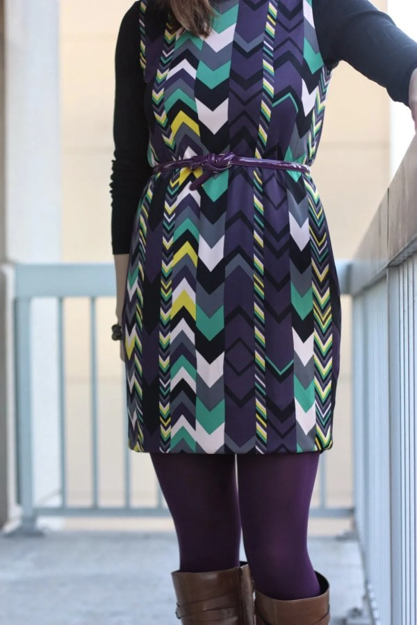 FashionablyEmployed.com | Missoni chevron dress with purple tights and belt and cognac boots for fall or winter, wear to work style