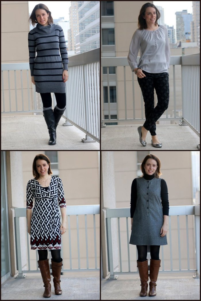 FashionablyEmployed.com | 4 All Neutral Outfits for the Office | black, gray, cognac, white, and silver pieces paired seamlessly | wear to work outfit, office style, business casual