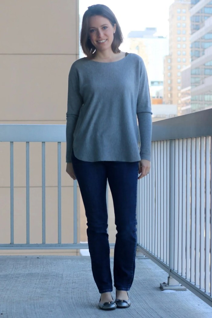 FashionablyEmployed.com | casual day at office style, work outfit, weekend wear | gray sweater and jeans with silver flats, simple style