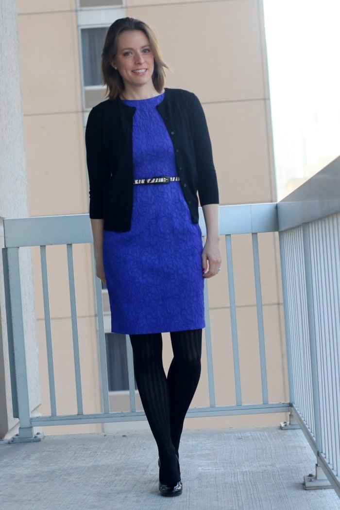 FashionablyEmployed.com | Pants or skirts? What are you? Stop on over to join the conversation. You'll also find lots of everyday working mom style and lifestyle goodness | cobalt blue dress, black cardigan, black tights and heels | wear to work outfit, office style, business casual