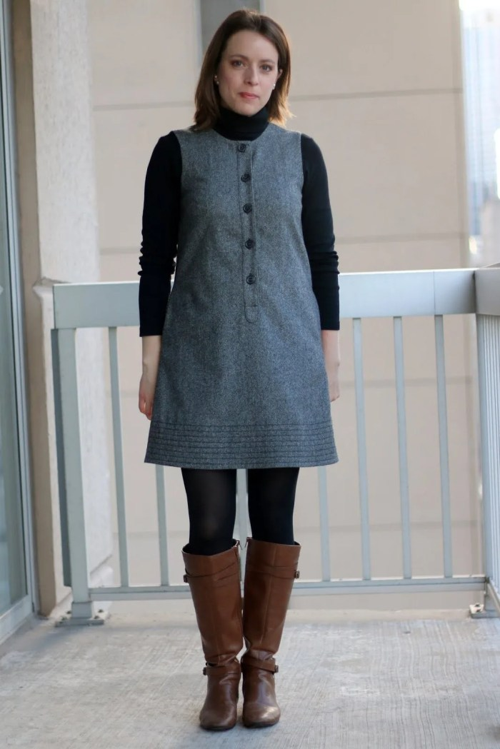 FashionablyEmployed.com | Gray shift dress with black turtleneck, black tights and cognac boots | wear to work outfit, office style, business casual