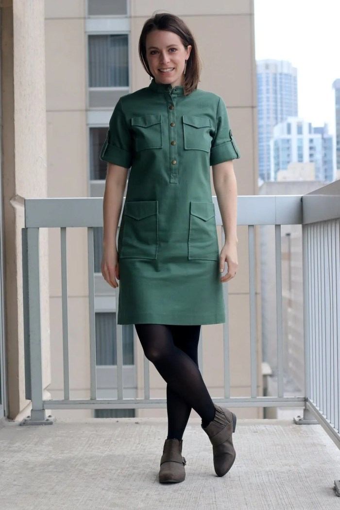 FashionablyEmployed.com | Thrifted Emerson Fry green dress with tights and gray boots | Made in the USA | wear to work outfit, office style, business casual to brunch