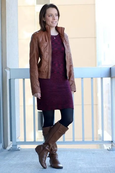FashionablyEmployed.com | Work Day to Date Night Sweater Dress and Boots | cognac leather jacket, maroon sweater dress, black tights and cognac boots | wear to work, office style outfit, dinner date or weekend style