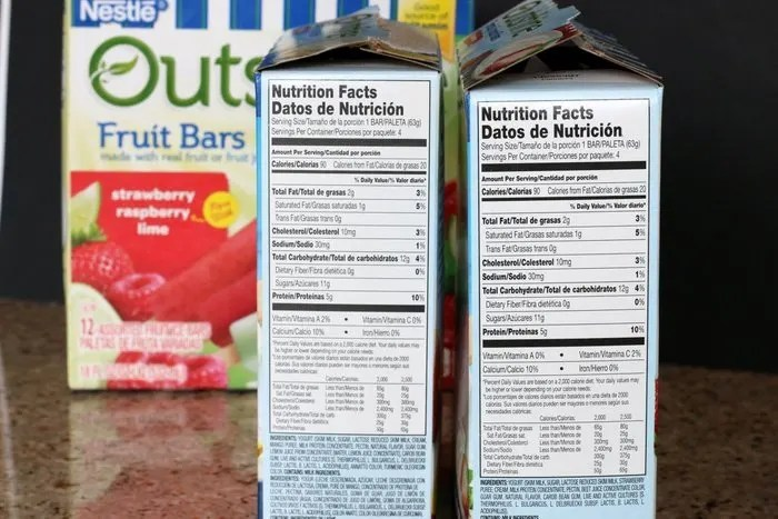 Nutritional Label Outshine Simply Yogurt Bars