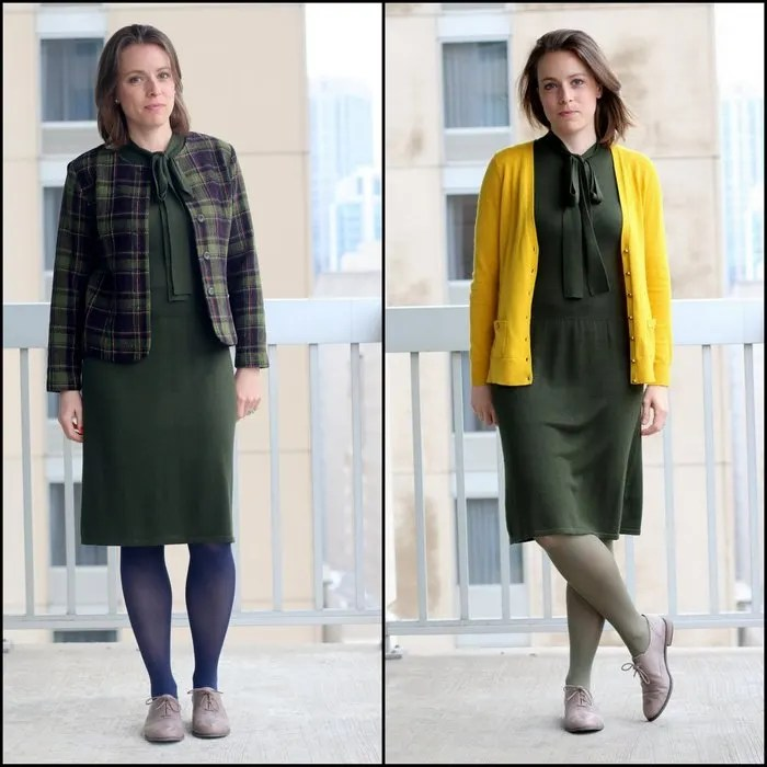 FashionablyEmployed.com | Move Over Mr. Dewey | Modest thrifted style, Magaschoni thrifted dress styled two ways for the office, women's professional style