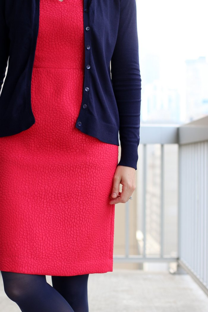 FashionablyEmployed.com | Bright pink dress and navy cardigan and tights with metallic shoes | wear to work women's style, office outfit