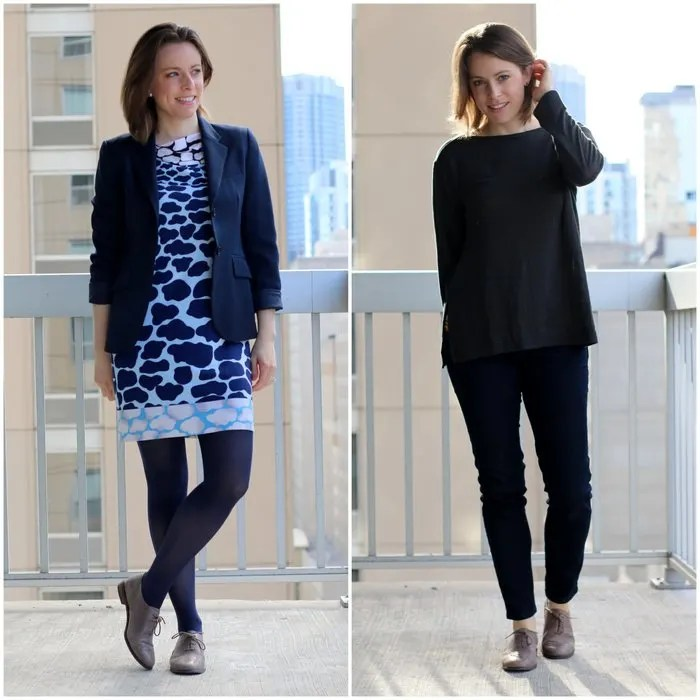 FashoinablyEmployed.com | Oxfords Two Ways, With a Shift dress and with jeans, business casual for the office, women's, work outfit