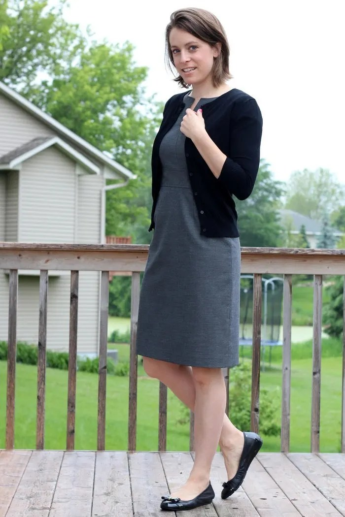 FashionablyEmployed.com   Everyday style for working moms   Gray sheath dress with black cardigan and black flats for simple yet chic outfit to wear to work, office attire, work outfit
