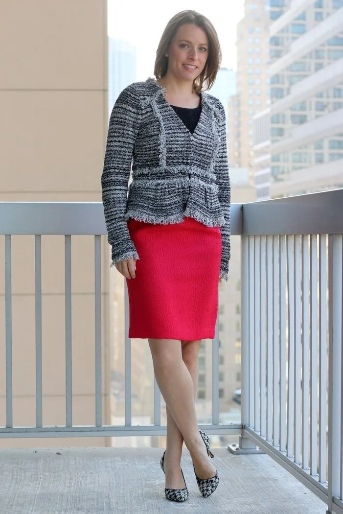 FashionablyEmployed.com | Simple, sustainable, chic style for the everyday professional woman | Pink dress as skirt with black tank and peplum blazer with black heels | perfect for work, office style for women