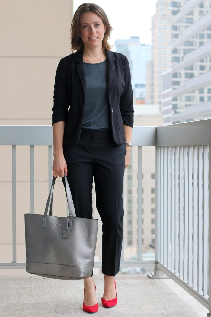 FashionablyEmployed.com | Gray top with black pants and black blazer, pop of color from red pumps / heels | wear to work style for everyday women