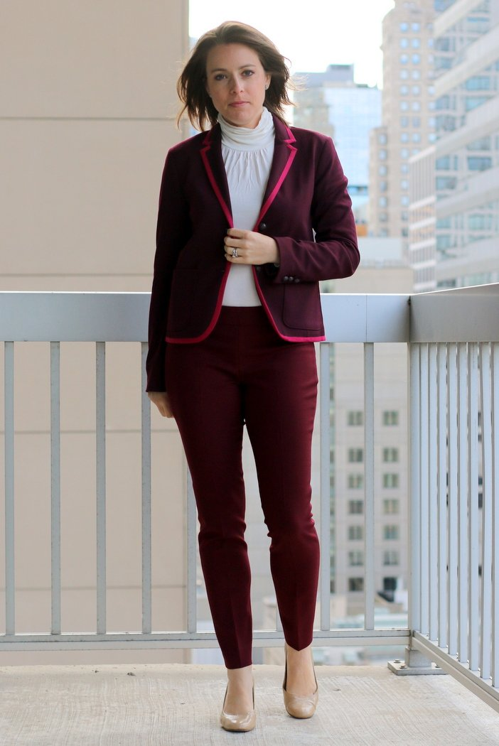 FashionablyEmployed.com | Simple, sustainable chic style for the everyday professional woman | Monochromatic maroon blazer and pants with cream turtleneck, fall style inspiration, wear to work, office style