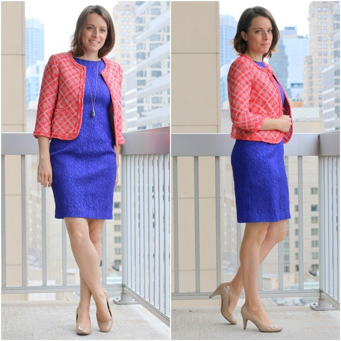 FashionablyEmployed.com | Cobalt blue dress and Made in the USA coral blazer from Oak73 with nude heels for work style | Simple and sustainable style for everyday professional women | wear to work style, office outfit idea, work style