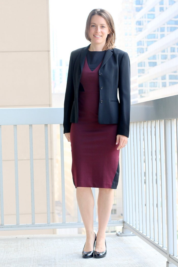 FashionablyEmployed.com | La Fille Colette Burgundy Sheath Dress, Made in the USA | Simple and sustainable style for everyday professional women | work wear, office style, wear to work attire