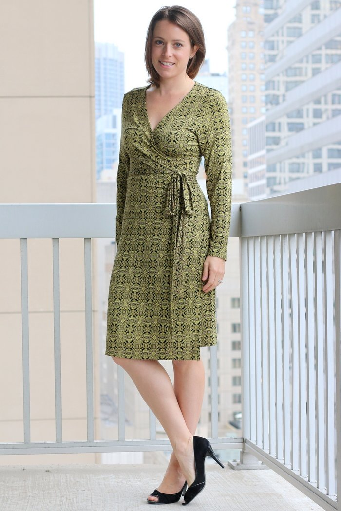 FashionablyEmployed.com | Black and yellow thrifted wrap dress transitioned from summer to fall and winter, with and without black tights and booties | casual Friday at the office | Simple and sustainable style for everyday professional women | wear to work style, office outfit, workwear