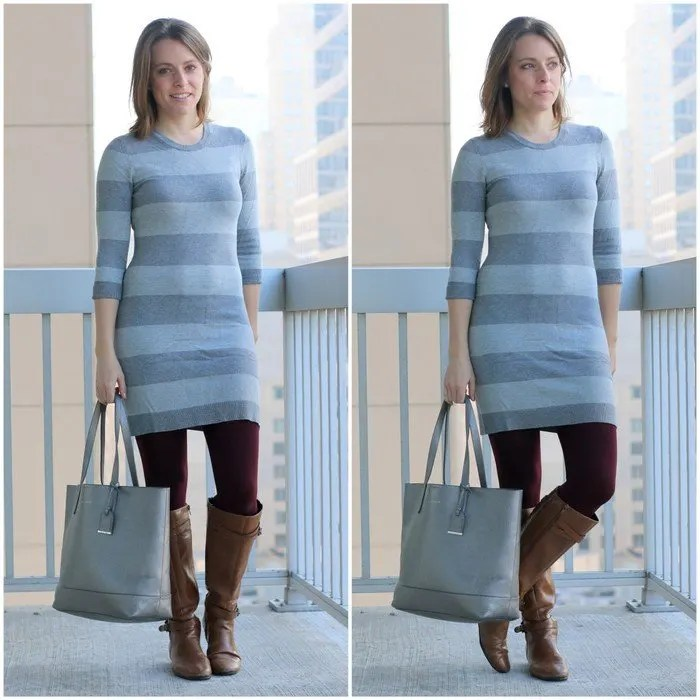 FashionablyEmployed.com | Striped sweater dress with maroon tights and cognac boots, silver tote, neutrals with a pop of color from tights | Simple and sustainable style for everyday professional women | wear to work, office style, workwear