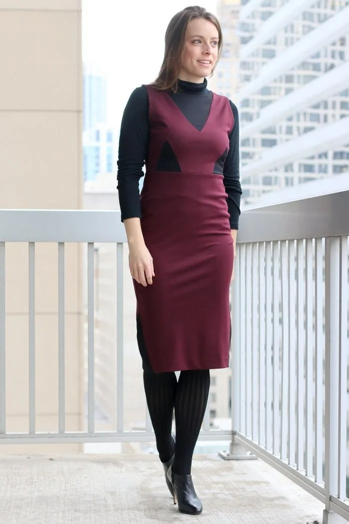 FashionablyEmployed.com | Maroon La Fille Colette Made in the USA dress with black tights and booties for the office | Simple and sustainable style for everyday professional women | wear to work, office style