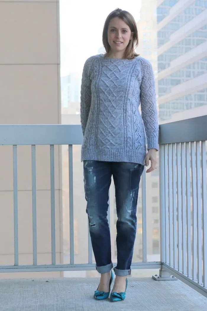 FashionablyEmployed.com | Gray sweater and distressed Silver jeans with teal pumps, casual Friday at the office, work wear style, boyfriend jeans | Simple and sustainable style for everyday professional women | wear to work, office style, workwear