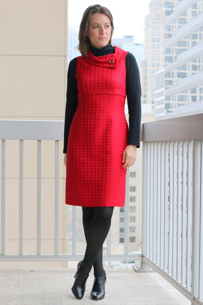 FashionablyEmployed.com | Red dress with black turtleneck, black tights, and black heels | Simple and sustainable style for everyday professional women | work wear, office style