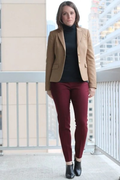 FashionablyEmployed.com   Burgundy pants, black top and camel jacket   work to weekend remix style   workwear, weekend style, outfit