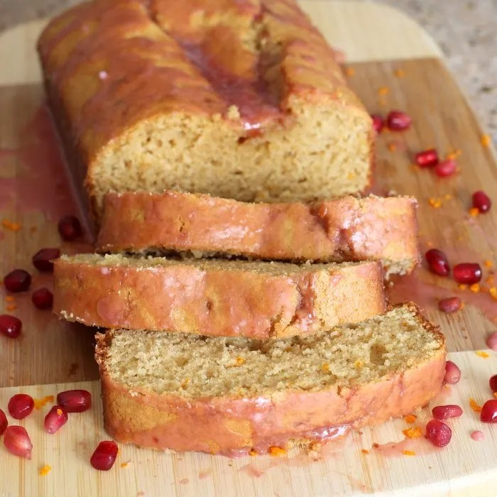 Want to teach your kids to enjoy and appreciate all kinds of food? Get them involved in the kitchen and make this kid-friendly orange pound cake with pomegranate glaze. Delicious and easy with simple ingredients.