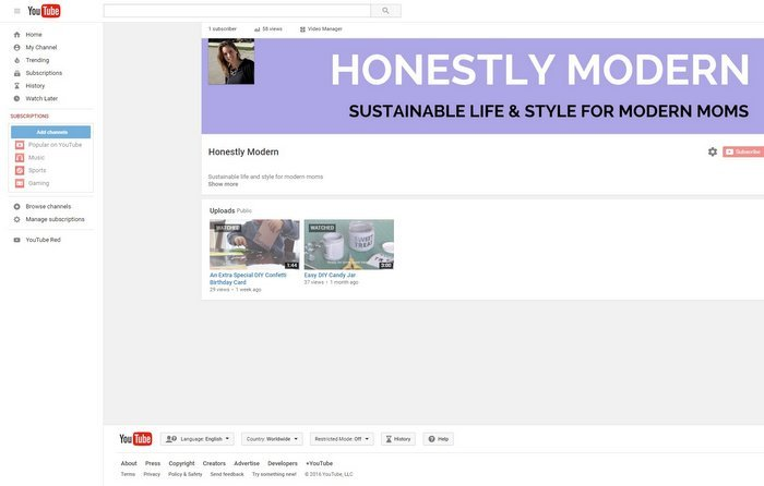 1-Honestly Modern You Tube Channel Screenshot