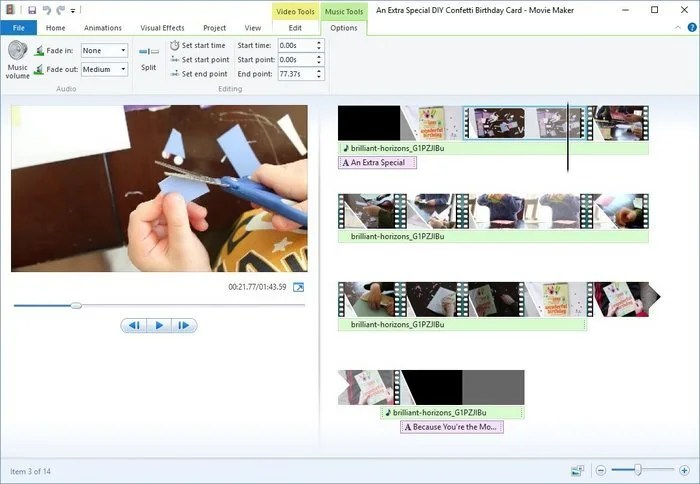 3-Windows Movie Maker Music Edit Tools