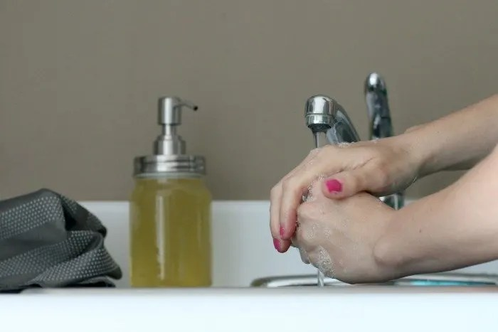 washing hands - suds with DIY handsoap