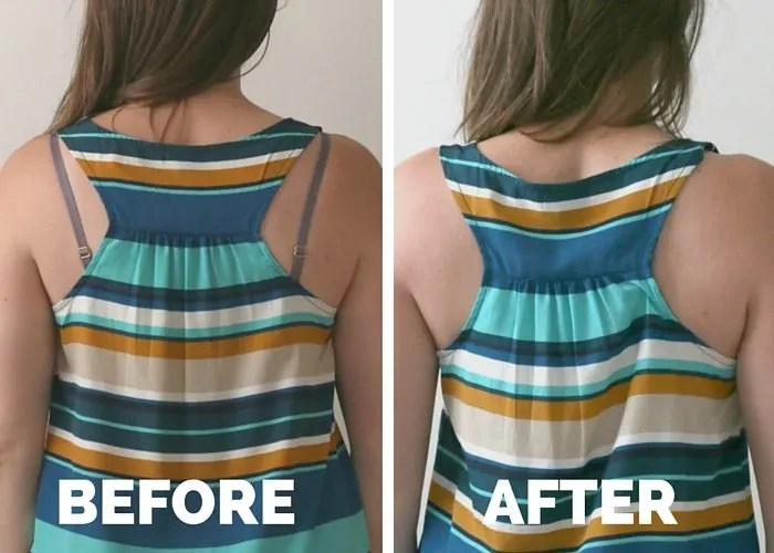 Before and After No-Sew Hidden Bra Strap Fix
