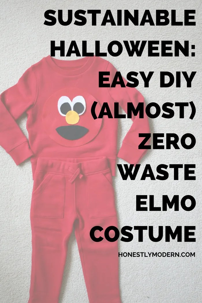 Make Halloween a little easier with this easy DIY Elmo costume any beginner can make. They're almost zero waste and will be useful long after trick-or-treating. Click through to check out the step-by-step tutorial.