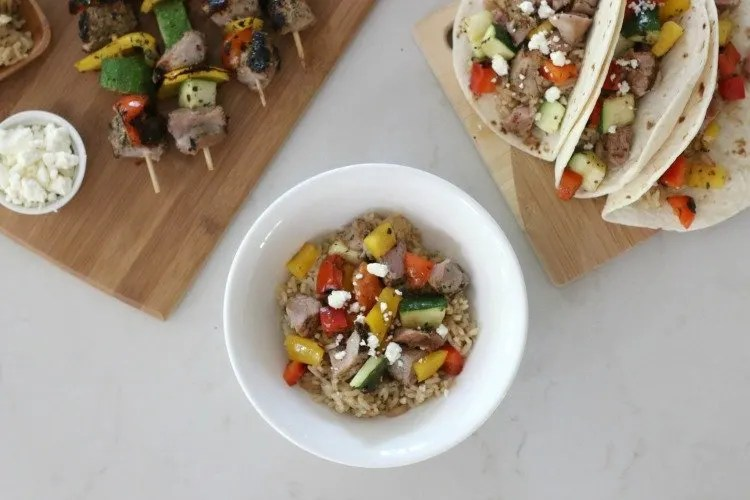 Mediterranean Pork & Veggie Rice Bowl