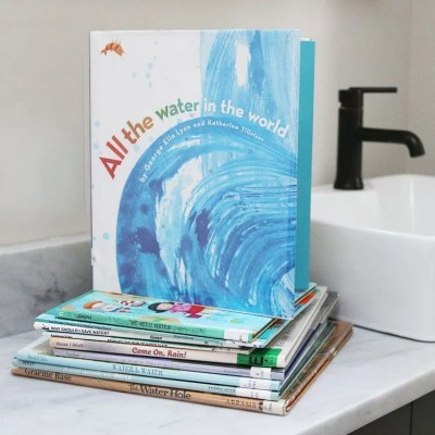 Pile of picture books all water conservation and our water cycle