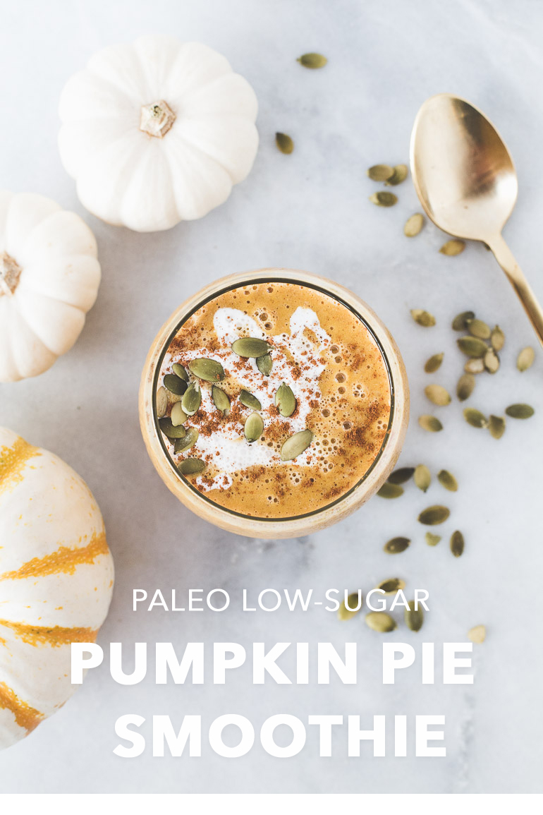 Simple Paleo, Low-Sugar Pumpkin Pie Smoothie | The perfect transition between summer and fall—a creamy, warming, and nourishing smoothie that tastes like pumpkin pie in a glass without the added sugar! Healthy, gluten free, refined sugar free, and easy to make. Maca root gives it an energizing boost of superfood powers. Click to get the recipe! | Honestly Nourished | www.honestlynourished.com