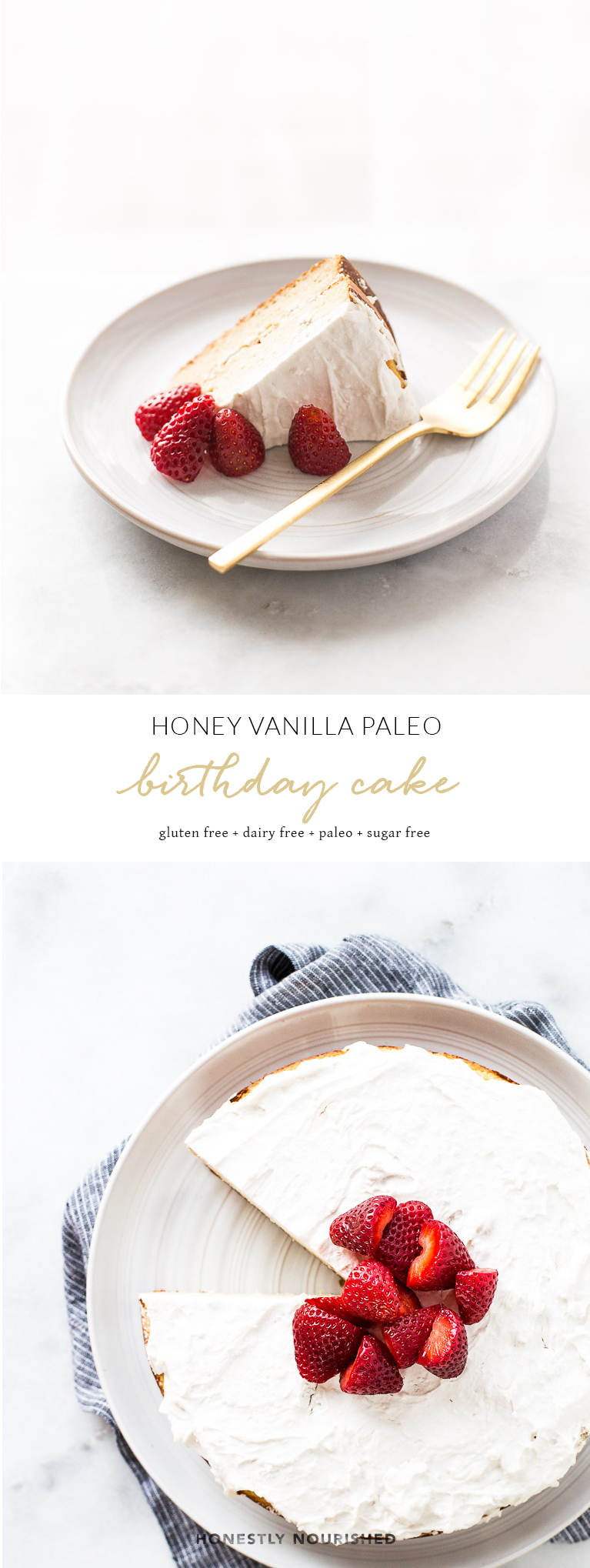 A simple, healthy PALEO honey vanilla birthday cake! made with almond and coconut flours! Clean ingredients only - no sugar, dairy, gluten, or grains.