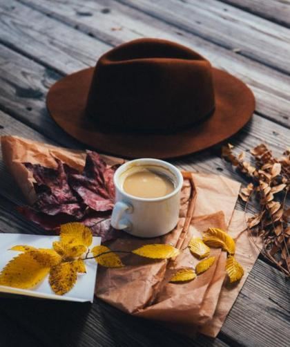 Autumn leave, hat and coffee - Dear Autumn, I've missed you