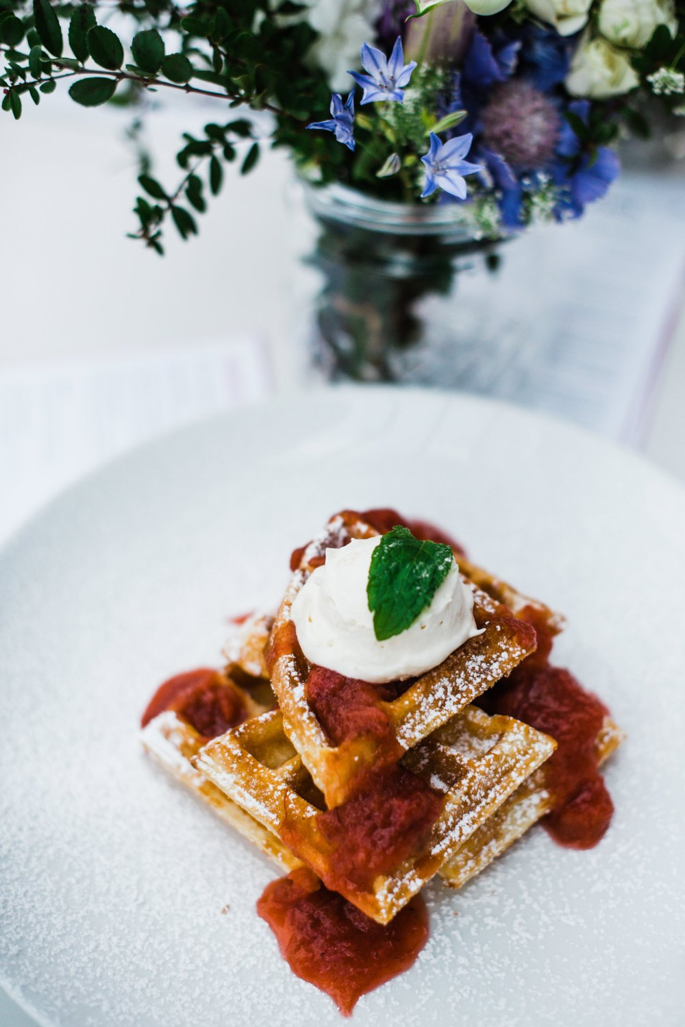 Central Social Hall Jasper Avenue Brunch Menu Belgian Waffles With Fruit Compote Chantilly Cream