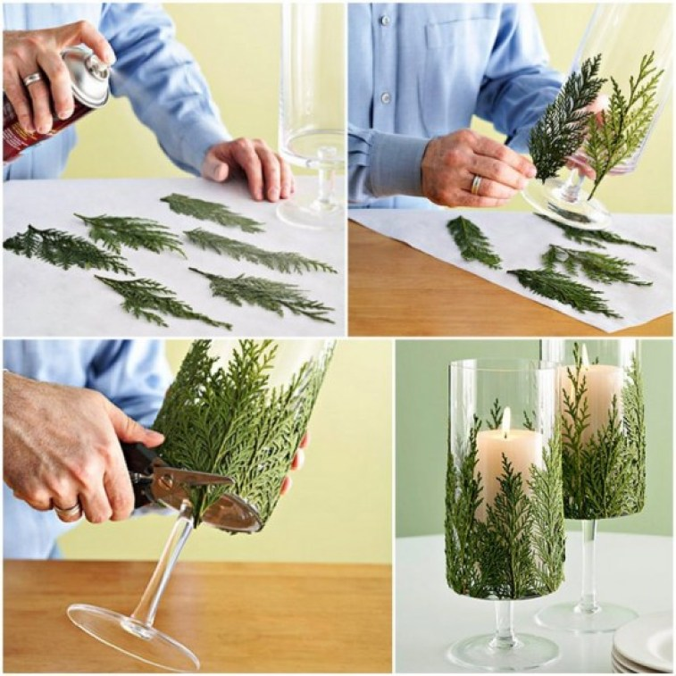 candle holders use spruce springs to attach to make festive