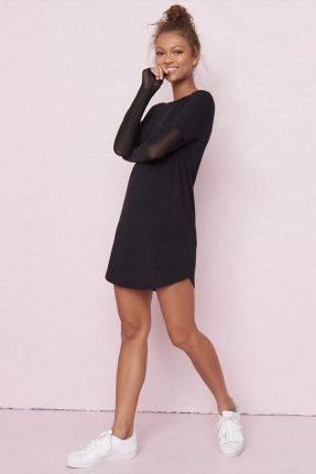 long sleeve black dress with sneakers